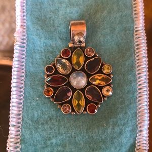 Jewelry - Mexican (?) sterling and semi precious pendant
